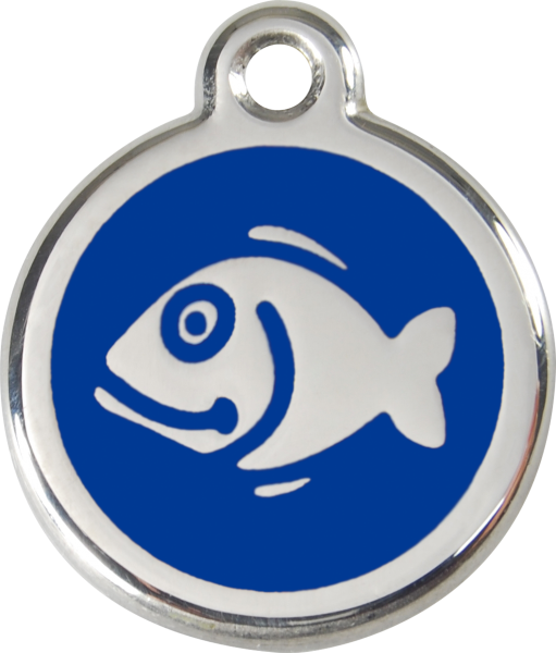 Katzenmarken mit Gravur, Adressanhänger für Katzen, Fish Dark Blue