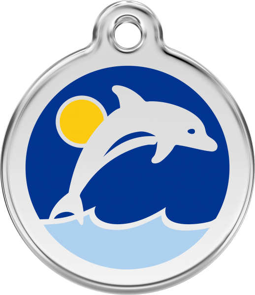 Hundemarken- Hundemarke mit Gravur - Tiermarke graviert Katzenmarke  Dolphin