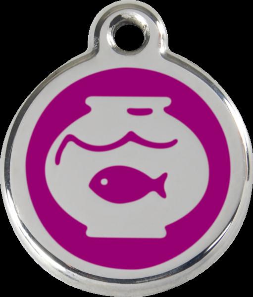 Katzenmarken mit Gravur, Adressanhänger für Katzen, Fish Bowl Purple