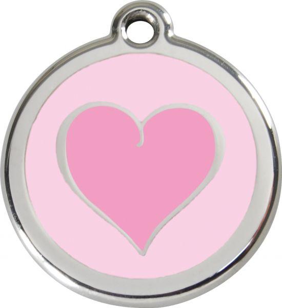 Eingravierte, Personalisierte Emaille Tiermarke Herz Pink