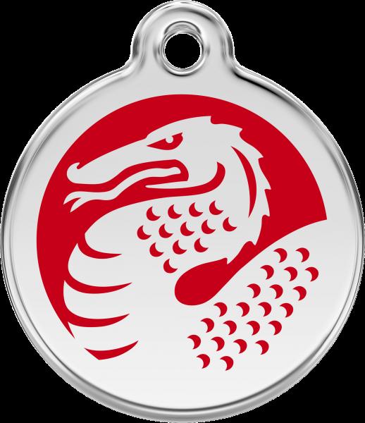 Hundemarken- Hundemarke mit Gravur - Tiermarke graviert Katzenmarke  Dragon Red