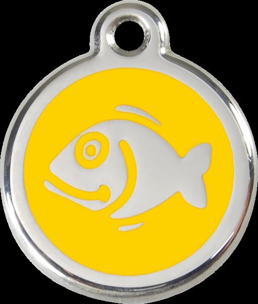 Katzenmarken mit Gravur, Adressanhänger für Katzen, Fish Yellow
