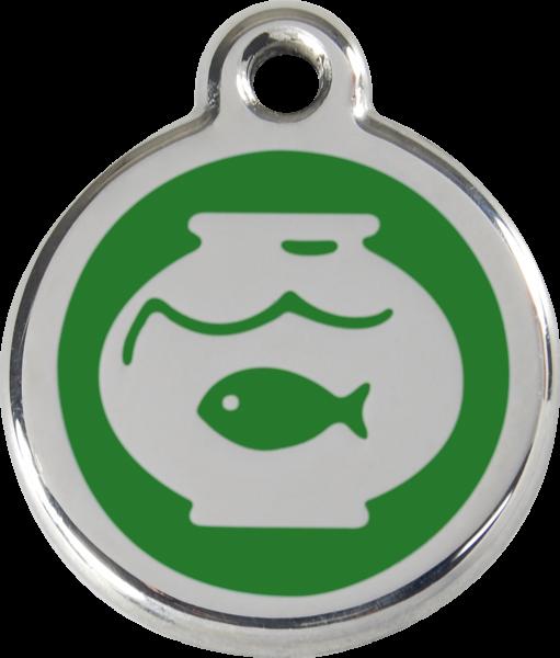Katzenmarken mit Gravur, Adressanhänger für Katzen, Fish Bowl Green