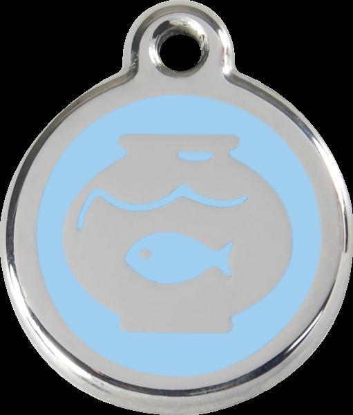 Katzenmarken mit Gravur, Adressanhänger für Katzen, Fish Bowl Light Blue