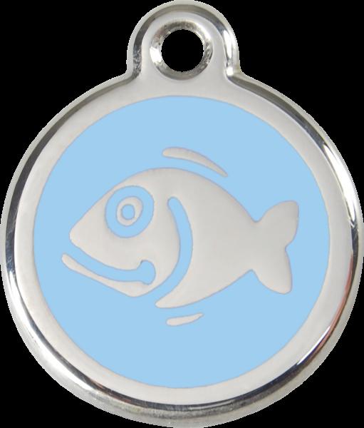 Katzenmarken mit Gravur, Adressanhänger für Katzen, Fish Light Blue
