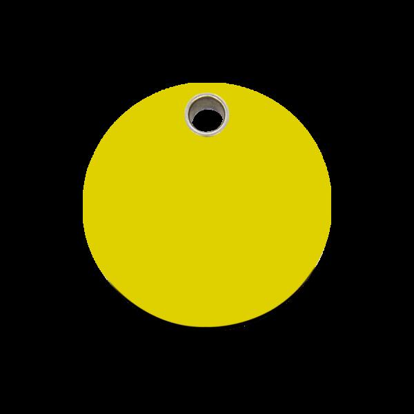 Hundemarke + Gravur, Hundemarken gravieren aus Plastik Circle Yellow