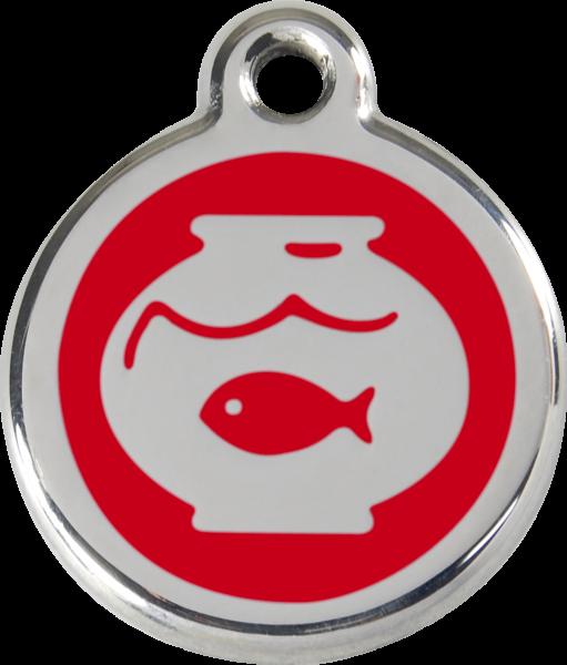 Katzenmarken mit Gravur, Adressanhänger für Katzen, Fish Bowl Red