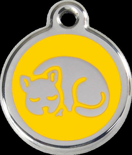 Katzenmarken mit Gravur, Adressanhänger für Katzen, Kitten Yellow