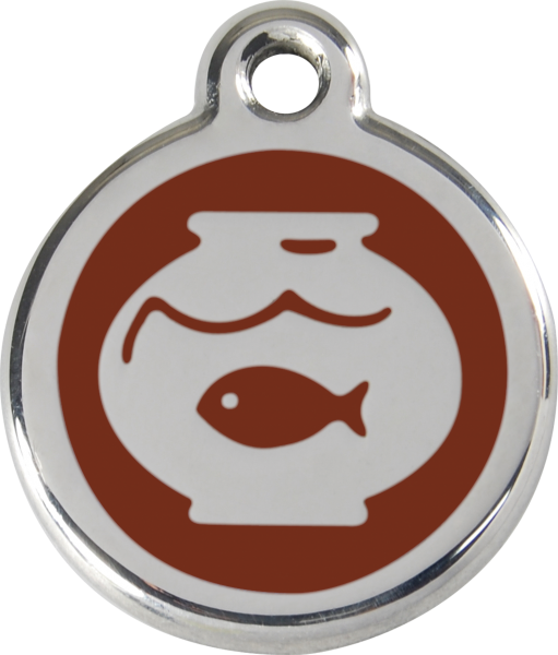Katzenmarken mit Gravur, Adressanhänger für Katzen, Fish Bowl Brown